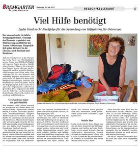 Abbildung des Artikels aus dem Bremgarter Bezirks-Anzeiger
