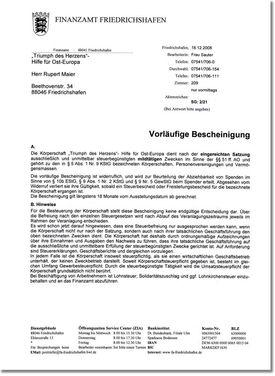 Abbildung der Steuerbescheinigung für Deutschland