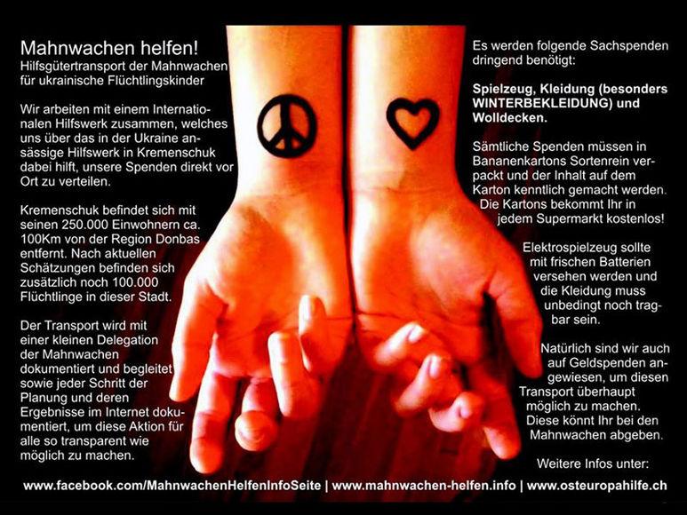 Hände mit Friedenszeichen und Herz