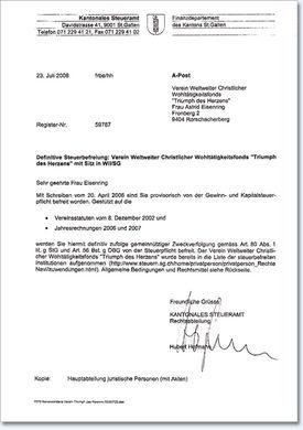 Abbildung der Steuerbescheinigung für die Schweiz