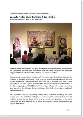 """Bericht zur Ansprache von Vassula Ryden über die """"Einheit der Kirchen"""""""