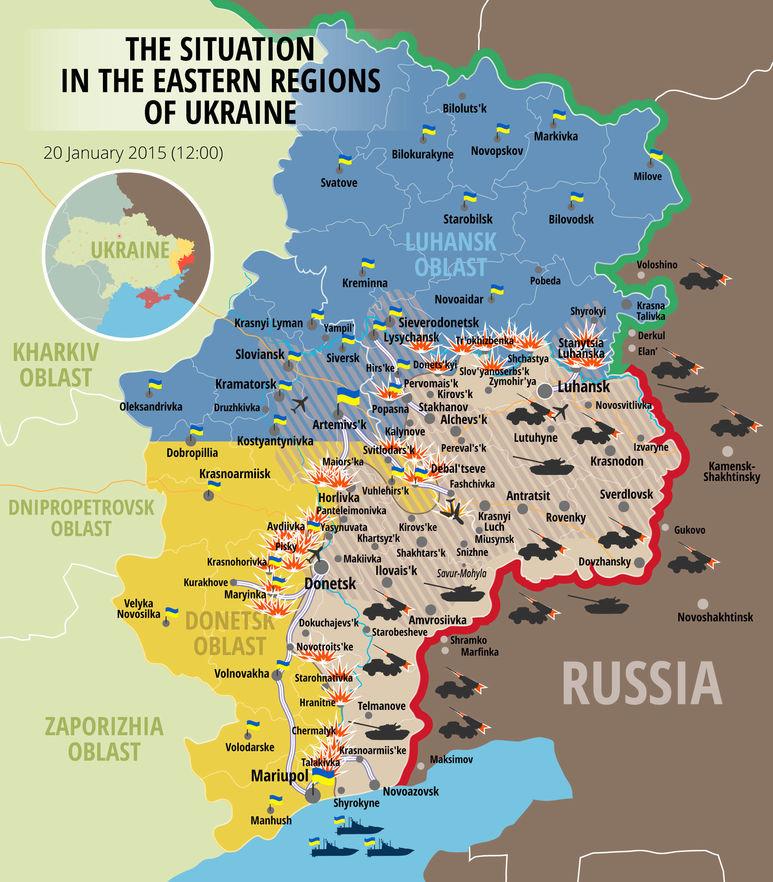 Karte mit aktuellen Kriegsgebieten in den beiden Regionen Donezk und Lughansk