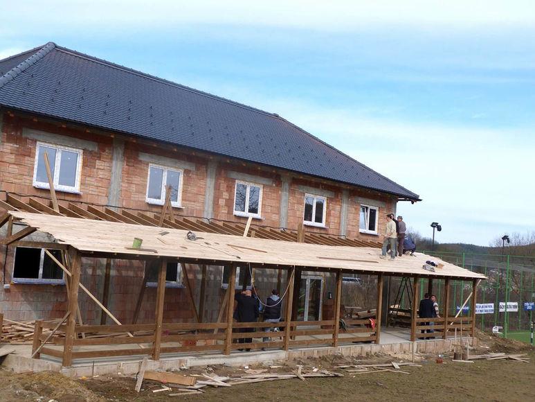 Bau der Holzveranda