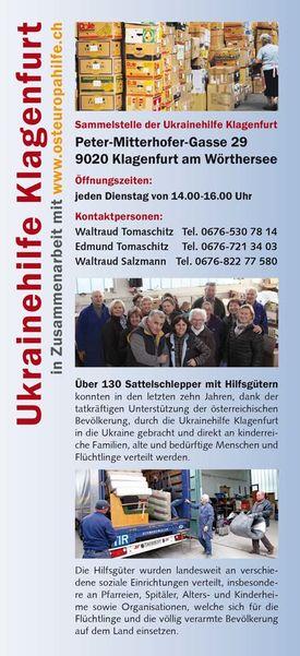 Bild Flyer Ikrainenhilfe Klagenfurt
