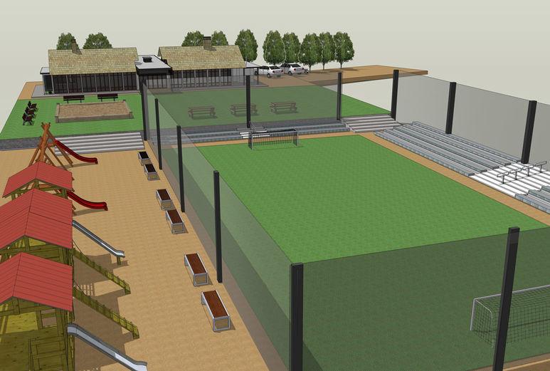 Projektansicht des Spiel- und Sportplatzes mit dem Pavillon