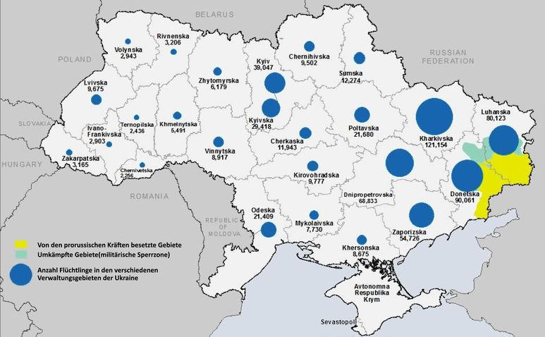 Karte mit Kriegsgebieten