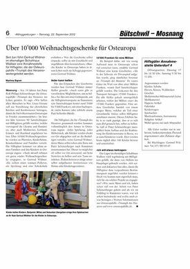 Abbildung des Artikels der Alttoggenburger Zeitung