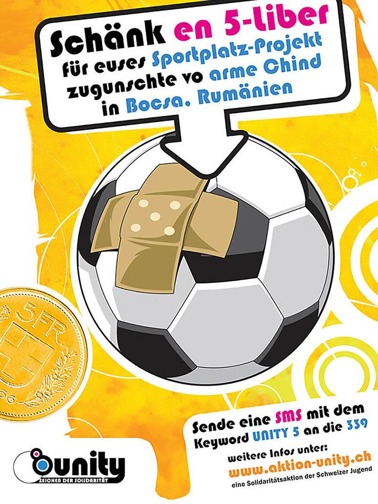 Flyer für eine 5-Franken Spende betreffend Sportplatz Projekt