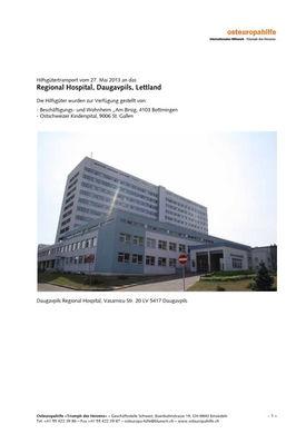 Abbildung des Berichtes Hilfsgütertransport vom 27. Mai 2013 an das Regional Hospital, Daugavpils, Lettland