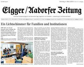 Abbildung des Artikels der Egger/Aardorfer Zeitung