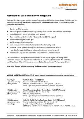 Abbild Merkblatt für das Sammeln von Hilfsguetern