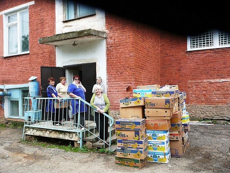 Stapel mit Hilfsgüter