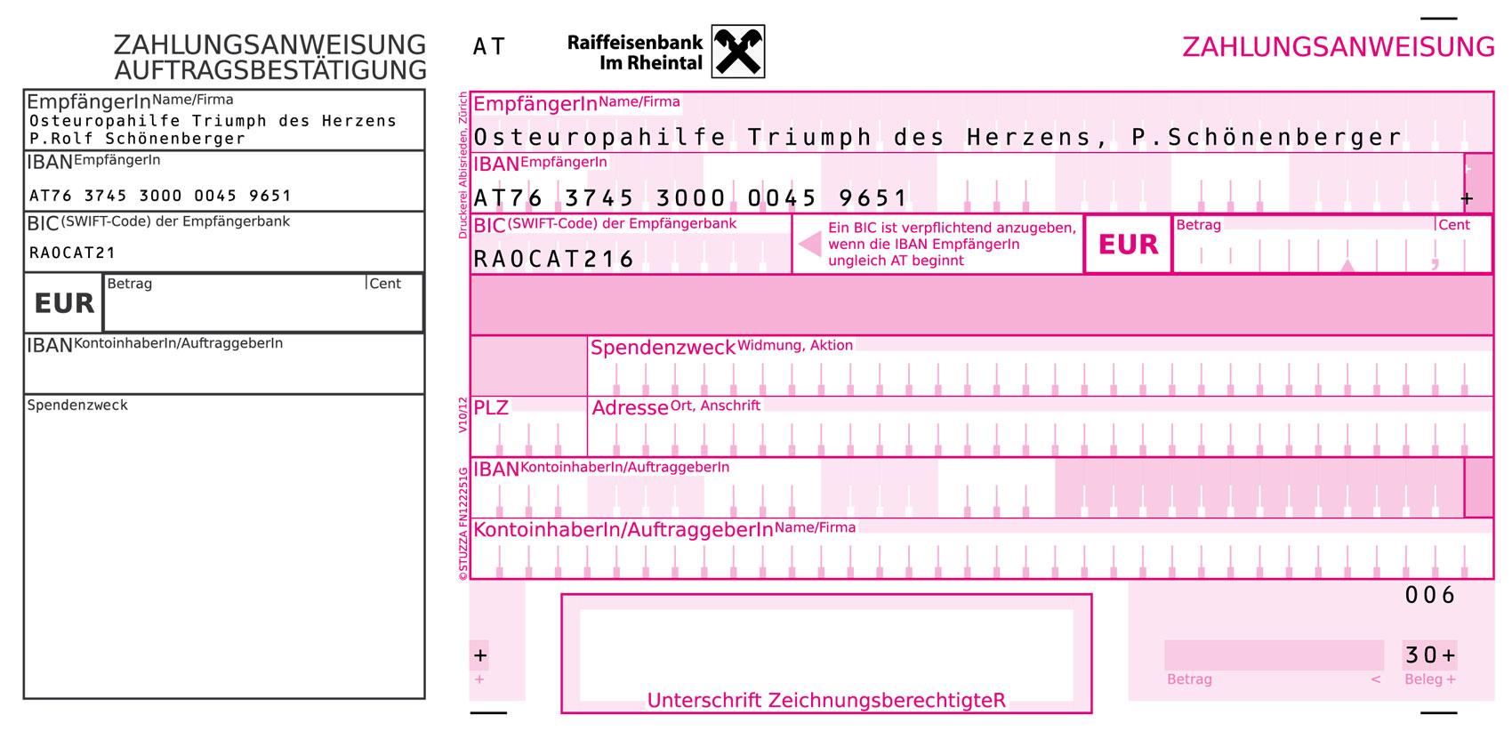 Zahlschein für Österreich