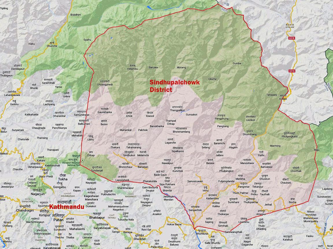 Karte der Region Sindhupalchowk
