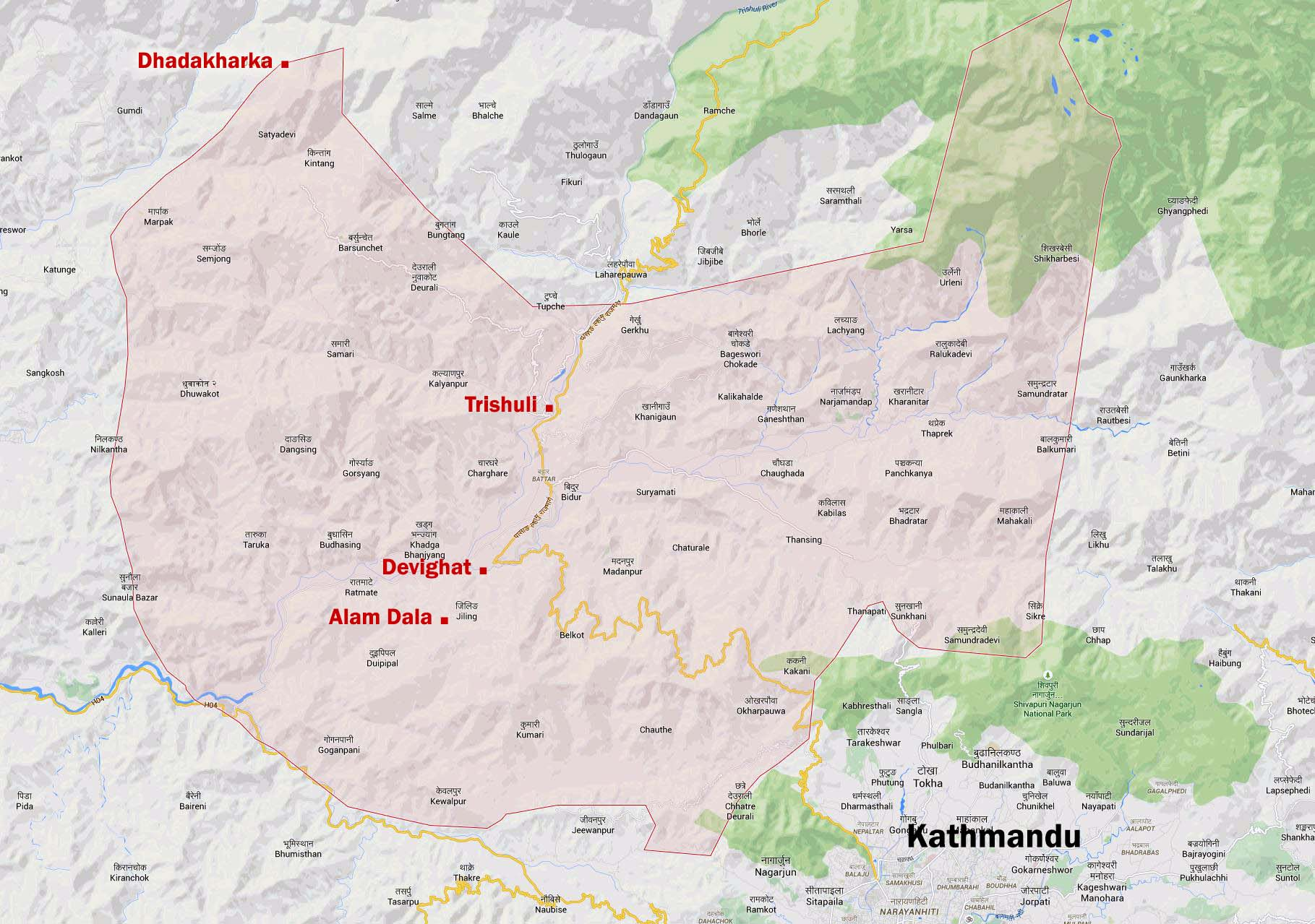 Übersichtskarte der Region Nuwaklot, Nepal